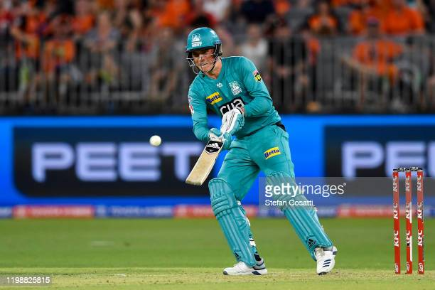 Tom Banton of the Heat bats during the Big Bash League match between the Perth Scorchers and the Brisbane Heat at Optus Stadium on January 11 2020 in...