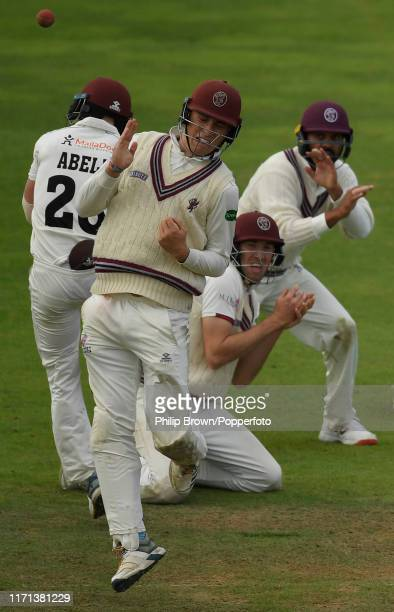 Tom Banton Tom Abell Craig Overton and Murali Vijay of Somerset react as Ryan ten Doeschate of Essex hits out during the fourth day of the County...