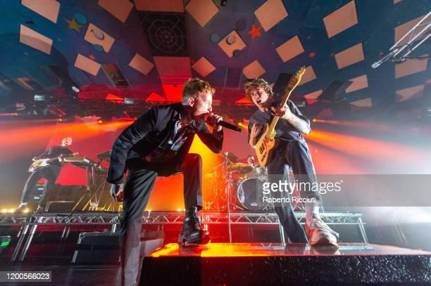 Tom Barclay Frank Carter Gareth Grover and Dean Richardson of Frank Carter the Rattlesnakes perform on stage at Barrowland Ballroom on February 13...
