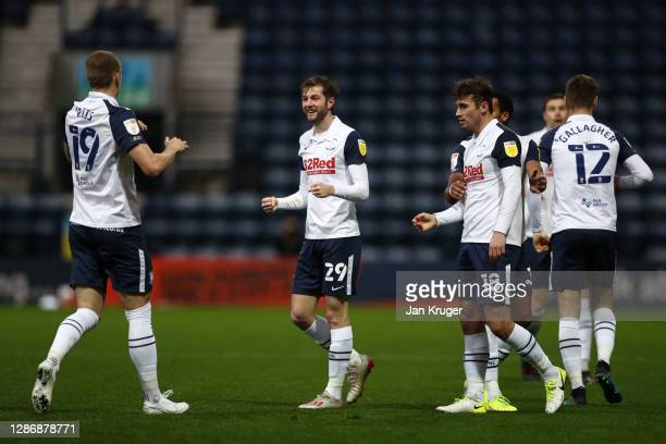 Tom Barkhuizen of Preston North End celebrates with teammate Emil Riis Jakobsen after scoring his team's first goal during the Sky Bet Championship...