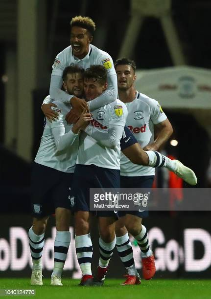 Tom Barkhuizen of Preston North End is congratulated on his goal during the Carabao Cup Third Round match between Preston North End and Middlesbrough...