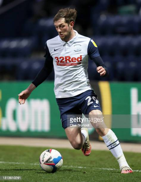 Tom Barkhuizen of Preston North End runs with the ball during the Sky Bet Championship match between Preston North End and Derby County at Deepdale...