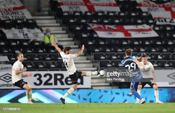 Tom Barkhuizen of Preston North End scores his team's first goal during the Carabao Cup Second Round match between Derby County and Preston North End...