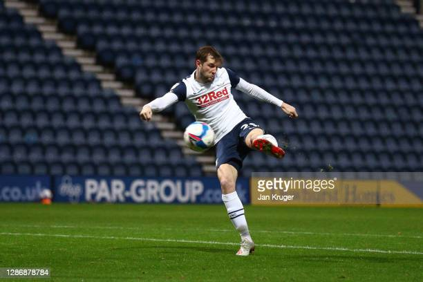 Tom Barkhuizen of Preston North End scores his team's first goal during the Sky Bet Championship match between Preston North End and Sheffield...
