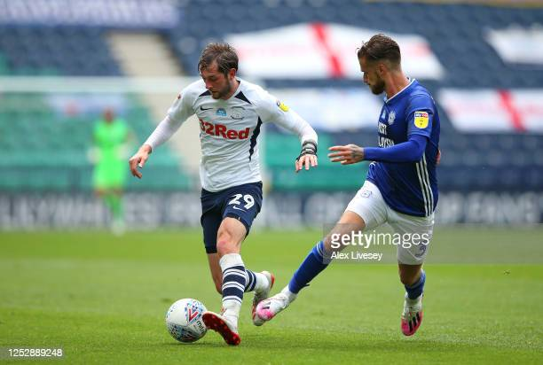 Tom Barkhuizen of Preston North End takes on Joe Bennett of Cardiff City during the Sky Bet Championship match between Preston North End and Cardiff...