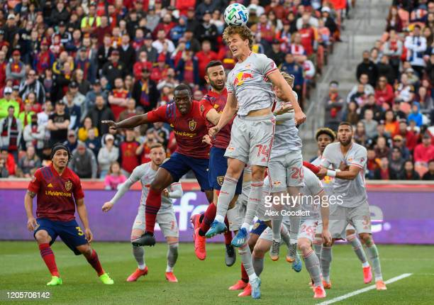 Tom Barlow of New York Red Bulls attempts to head the ball during a game against Real Salt Lake at Rio Tinto Stadium on March 7, 2020 in Sandy, Utah.