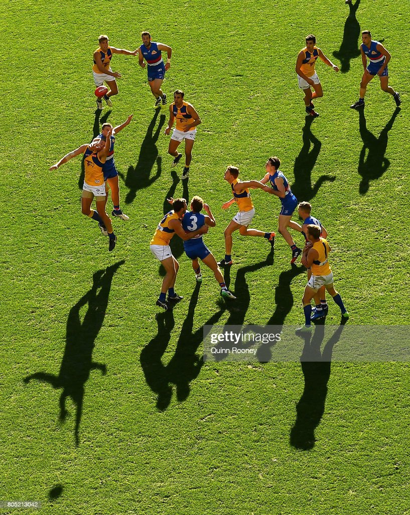 Tom Barrass of the Eagles and Jack Redpath of the Bulldogs compete for a mark during the round 15 AFL match between the Western Bulldogs and the West Coast Eagles at Etihad Stadium on July 1, 2017 in Melbourne, Australia.