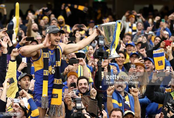 Tom Barrass of the Eagles celebrates with the Premiership Cup after the 2018 AFL Grand Final match between the Collingwood Magpies and the West Coast...
