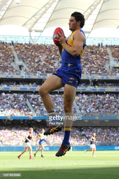 Tom Barrass of the Eagles marks the ball during the AFL Preliminary Final match between the West Coast Eagles and the Melbourne Demons on September...