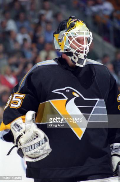 Tom Barrasso of the Pittsburgh Penguins skates against the Toronto Maple Leafs during the 1999 Quarter Finals of the NHL playoff game action at Air...