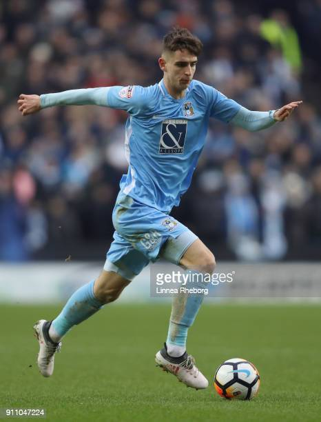 Tom Bayliss of Coventry City runs with the ball during The Emirates FA Cup Fourth Round match between Milton Keynes Dons and Coventry City at Stadium...