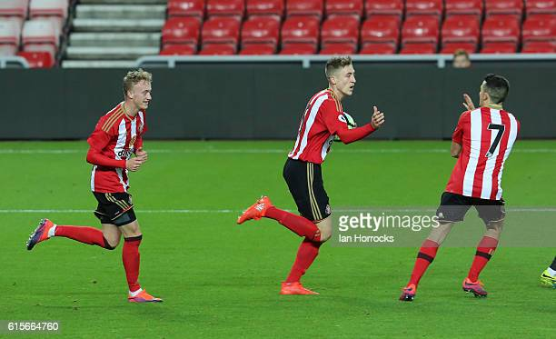 Tom Beading of sunderland celebrates after scoring the second Sunderland goal during the Premier League 2 match between Sunderland U23 and Derby...