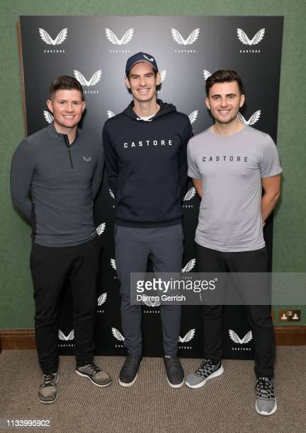 Tom Beahon Andy Murray and Phil Beahon attend the Castore and Andy Murray Press Conference at The Queen's Club on March 06 2019 in London United...