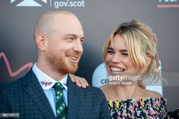 Tom Beard and Billie Piper attend a photocall for the World Premiere of 'Two for joy' during the 72nd Edinburgh International Film Festival at...