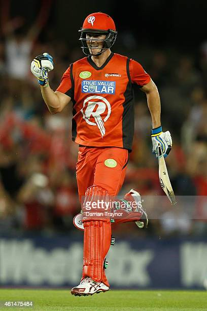 Tom Beaton of the Melbourne Renegades celebrate the win during the BIg Bash League match between the Melbourne Renegades and the Brisbane Heat at...
