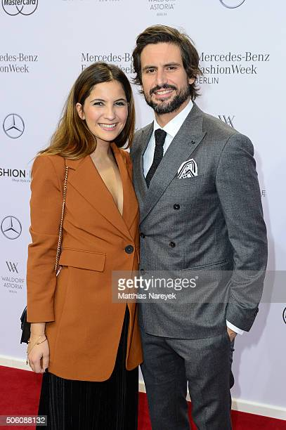 Tom Beck and Chryssanthi Kavazi attend the Baldessarini show during the MercedesBenz Fashion Week Berlin Autumn/Winter 2016 at Brandenburg Gate on...