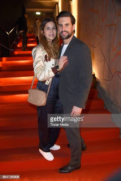 Tom Beck and his girlfriend Chryssanthi Kavazi attend the After Party of the premiere of the Amazon series 'You are wanted' at CineStar on March 15...