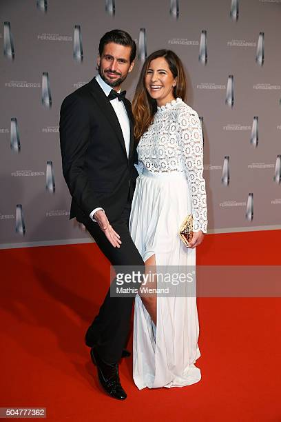 Tom Beck and his girlfriend Chryssanthi Kavazi attend the German Television Award at Rheinterrasse on January 13 2016 in Duesseldorf Germany