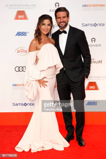 Tom Beck and his girlfriend Chryssanthi Kavazi attend the German Film Ball 2018 at Hotel Bayerischer Hof on January 20 2018 in Munich Germany