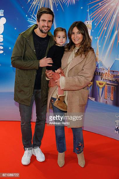 Tom Beck and his partner Chryssanthi Kavazi with Martha attend the premiere of 'Disney on Ice 100 Jahre voller Zauber' at Lanxess Arena on November 4...