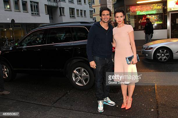 Tom Beck Peri Baumeister attend the premiere of the film 'Irre sind maennlich' at Mathaeser Filmpalast on April 10 2014 in Munich Germany