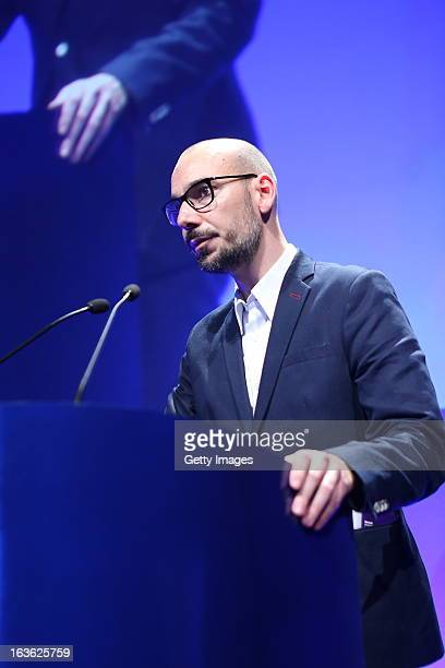 Tom Beckman ECD of Prime Stockholm gives a speech at the Dubai Lynx Awards Madinat Jumeirah on March 13 2013 in Dubai United Arab Emirates