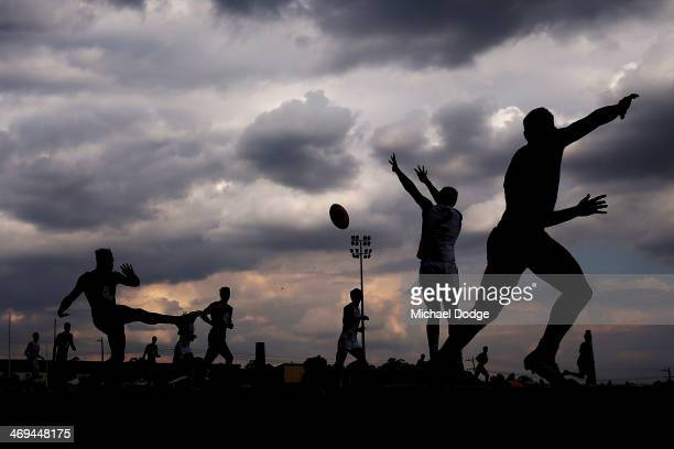 Tom Bell of the Blues kicks the ball during the round one AFL NAB Cup match between the North Melbourne Kangaroos and the Carlton Blues at Eureka...