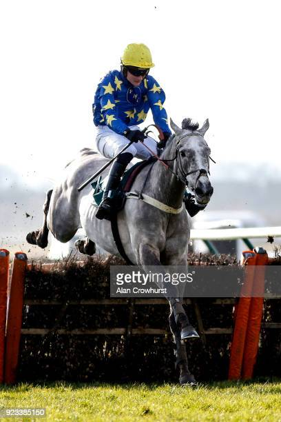 Tom Bellamy riding Doctor Bartolo clear the last to win The Whitson Bloodstock Olly Murphy Racing Juvenile Hurdle Race at Warwick racecourse on...