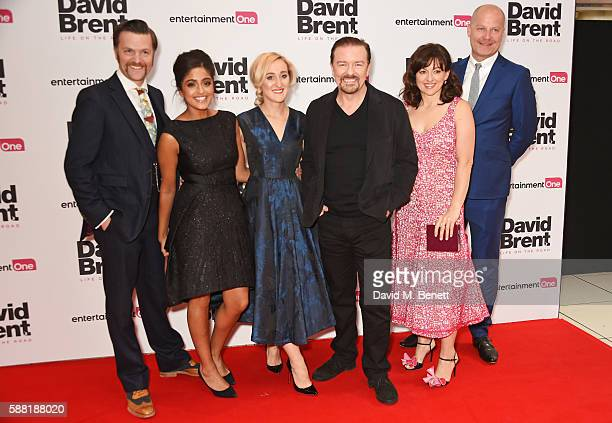 Tom Bennett Mandeep Dhillon Abbie Murphy Ricky Gervais Jo Hartley and guest attend the World Premiere David Brent Life On The Road at Odeon Leicester...