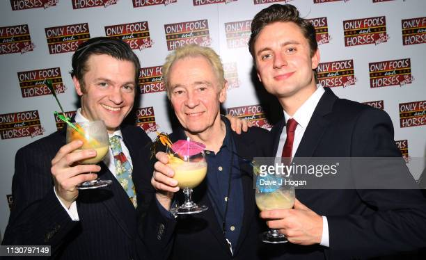 Tom Bennett Paul Whitehouse and Ryan Hutton attend the after show party following the opening night of Only Fools and Horses The Musical at Theatre...