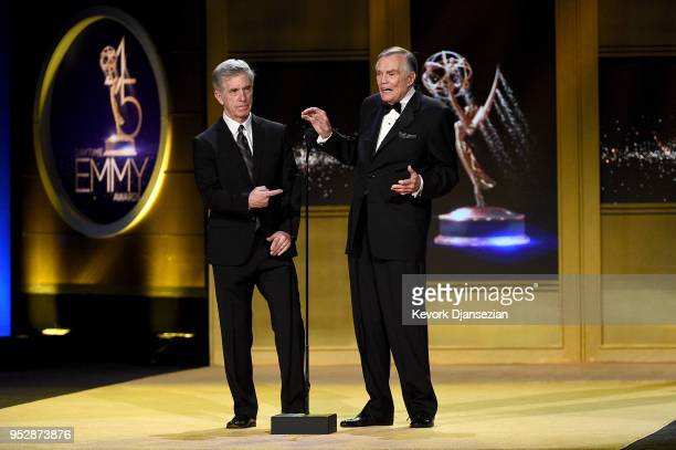 Tom Bergeron and Peter Marshall speak onstage during the 45th annual Daytime Emmy Awards at Pasadena Civic Auditorium on April 29 2018 in Pasadena...