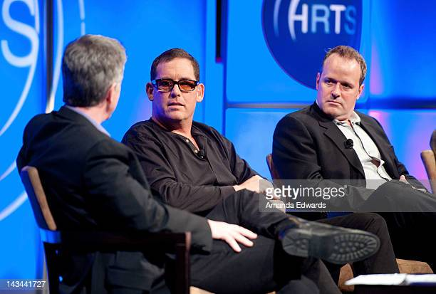 Tom Bergeron Mike Fleiss and Conrad Green attend The Hollywood Radio Television Society Presents The Unscripted Hitmakers luncheon at The Beverly...