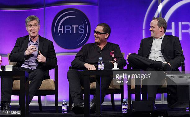 Tom Bergeron Mike Fleiss and Conrad Green attend The Hollywood Radio Television Society presents The Unscripted Hitmakers at The Beverly Hilton Hotel...