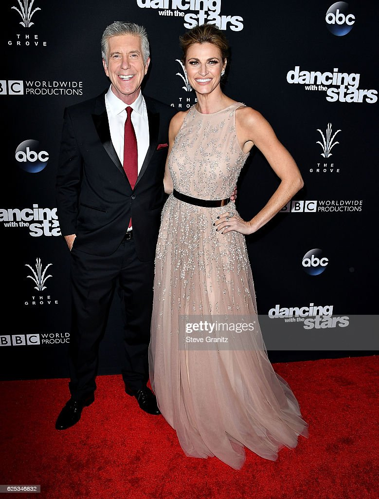 Tom Bergeron;Erin Andrews arrives at the ABC's 'Dancing With The Stars' Season 23 Finale at The Grove on November 22, 2016 in Los Angeles, California.