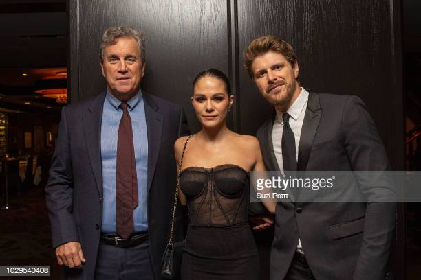 Tom Bernard and actors Maripier Morin and Alexandre Landry pose for a photo at the Sony Pictures Classics TIFF Celebration Dinner at Morton's on...