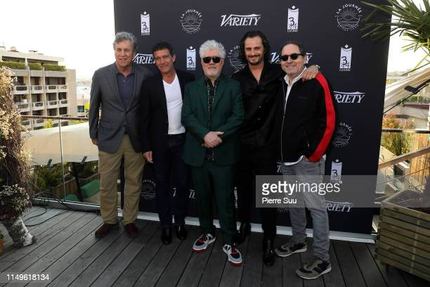 """Tom Bernard, Antonio Banderas, Pedro Almodovar, Asier Etxeandia and Michael Barker attend the photocall for """"The Journey By The Land"""" during the 72nd..."""