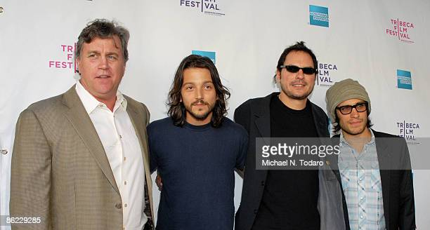 Tom Bernard Diego Luna Carlos Cuaron and Gael Garcia Bernal attend the premiere of Rudo Y Cursi during the 8th Annual Tribeca Film Festival at the...