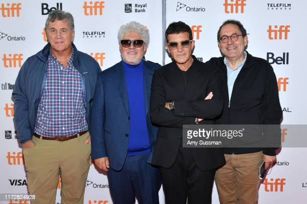 Tom Bernard Pedro Almodovar Antonio Banderas and Michael Barker attend the Pain And Glory premiere during the 2019 Toronto International Film...