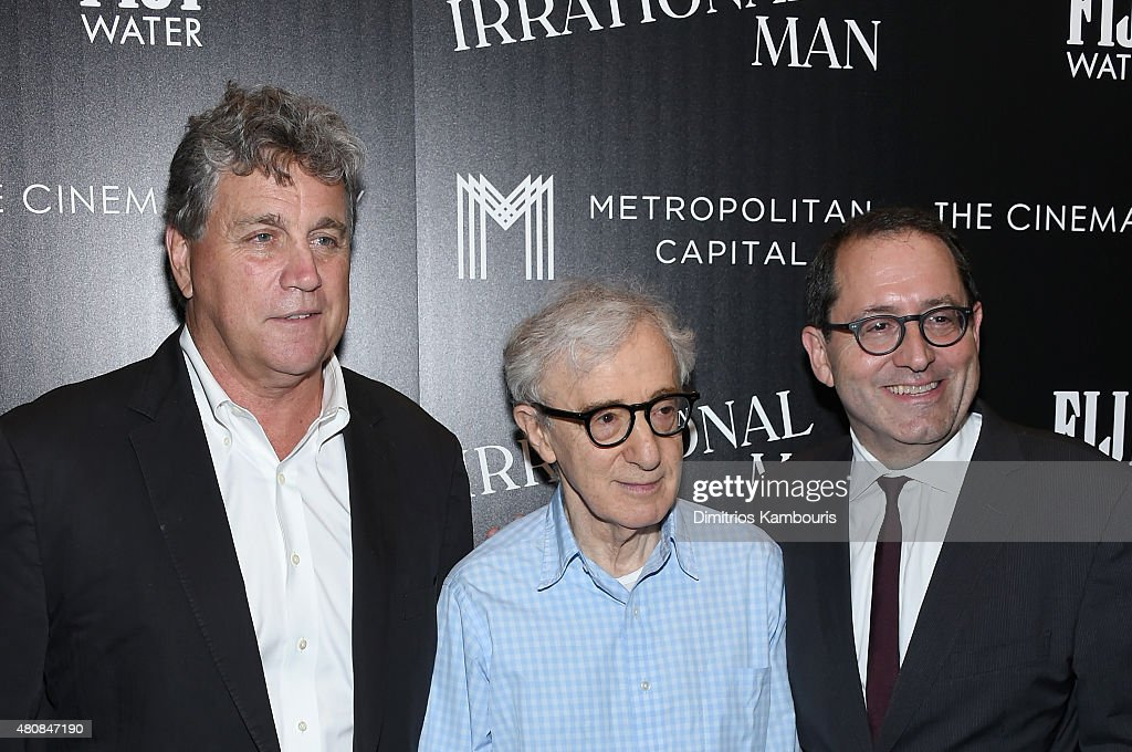 Tom Bernard, Woody Allen and Michael Barker attend Sony Pictures Classics 'Irrational Man' premiere hosted by Fiji Water, Metropolitan Capital Bank and The Cinema Society on July 15, 2015 in New York City.