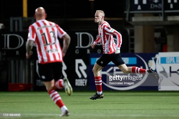Tom Beugelsdijk of Sparta Rotterdam celebrates 1-0 during the Dutch Eredivisie match between Sparta v RKC Waalwijk at the Sparta Stadium Het Kasteel...