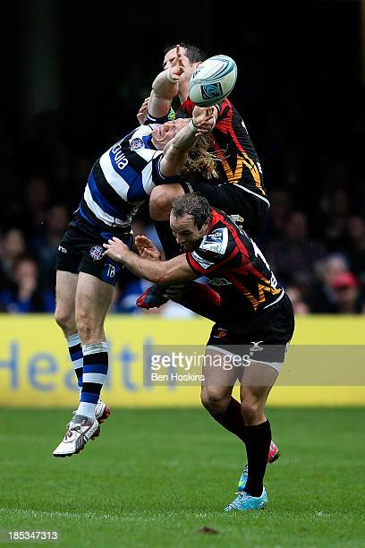 Tom Biggs of Bath goes up for a high ball against Will Harries of Newport during the Amlin Challenge Cup match between Bath and Newport Gwent Dragons...