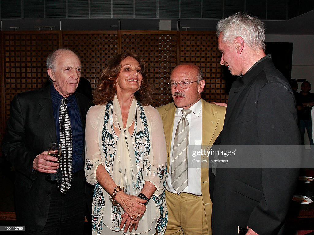 Tom Bishop, designer Diane von Furstenberg, filmmaker Volker Schloendorff and author Oliver Corpet attend the reception after the screening of 'The Making of 'Last Year at Marienbad' hosted by Diane von Furstenberg and Bernard-Henri Levi to benefit La Maison Francaise at New York University at Diane Von Furstenberg Gallery on May 20, 2010 in New York City.