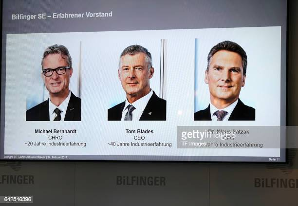 Tom Blades Chairman of the Executive Board Dr Klaus Patzak Chief Financial Officer Michael Bernhardt Labor Director during an annual press conference...