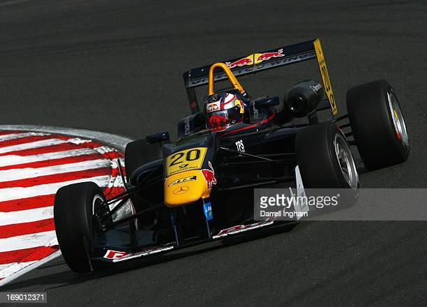 Tom Blomqvist of Great Britain and son of former World Rally champion Stig Blomqvist drives the Red Bull Eurointernational Dallara F312 Mercedes...