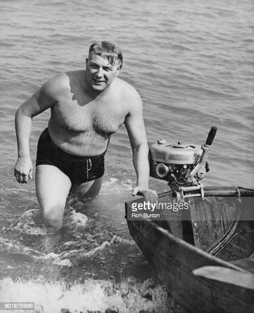 Tom Blower trains at Walmer near Dover for his attempt to swim the English Channel to France and back with only a fifteen minute break 1948