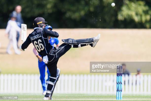 Tom Blundell of New Zealand A kicks the ball to save his wicket during the One Day International match between New Zealand A and India A at Hagley...