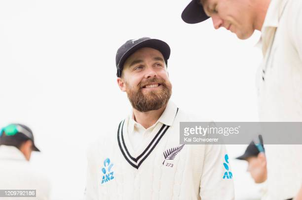 Tom Blundell of New Zealand looks on prior to day three of the Second Test match between New Zealand and India at Hagley Oval on March 02 2020 in...