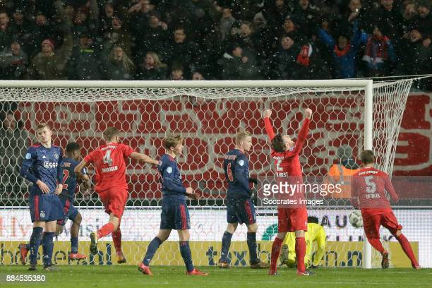 Tom Boere of FC Twente scores the sixth goal to make it 3-3 during the Dutch Eredivisie match between Fc Twente v Ajax at the De Grolsch Veste on...