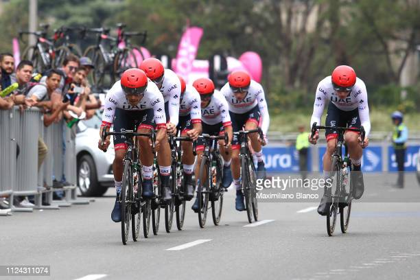Tom Bohli of Switzerland and Uae Team Emirates / Fernando Gaviria of Colombia and Uae Team Emirates / Sergio Luis Henao of Colombia and Uae Team...