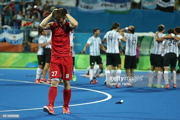 Tom Boon of Belgium shows his emotion after losing the Men's Hockey Gold Medal match between Belgium and Argentina on Day 13 of the Rio 2016 Olympic...